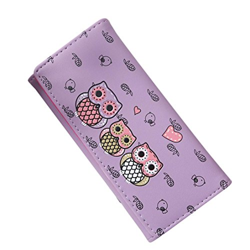 Rovinci Frau Einfach Retro Eule drucken Haspe Lange Brieftasche Geldbörse Kartenhalter PU-Leder Handtasche (Lila) (Lila Fossil Handtaschen)