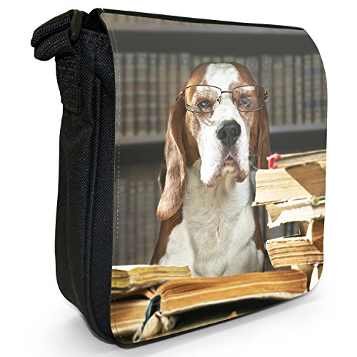 Beagle Dog-Borsa a spalla piccola di tela, colore: nero, taglia: S Nero (Clever Dog Reading Books)