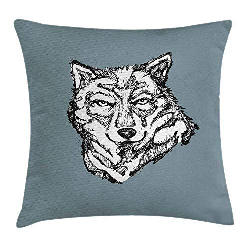 Jolly2T Modern Throw Pillow Cushion Cover, Wild Timber Wolf Face Portrait Sketch Animal Canine Creature Graphic Art, Decorative Square Accent Pillow Case, 18 X 18 inches, Black White Slate Blue - Knit Black Slate