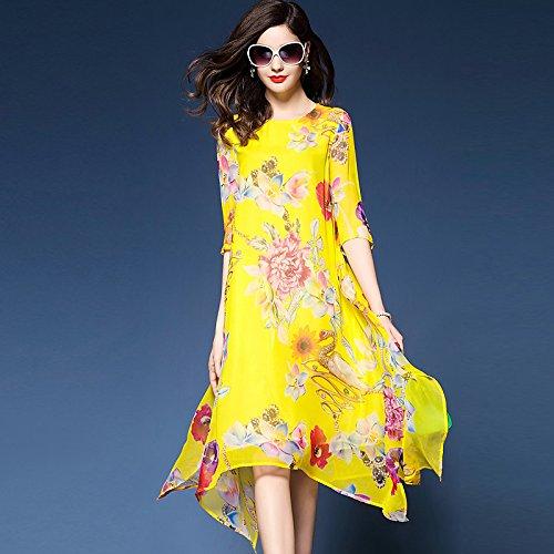74eb814cbc JIALELE La Mujer Plus Size Boho Gasa Vestidos Sueltos de Giro - Floral