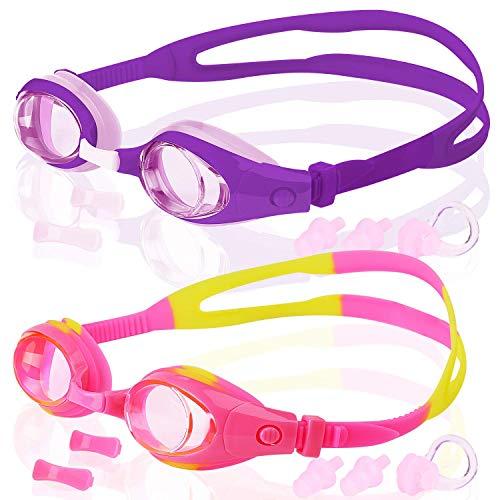 AOOPOO 2-Pack Kinder Schwimmbrille, 2 Stück, Schwimmen Brille für Kinder und Teenageralter von 3 bis 15 Jahren, Anti-Fog, wasserdicht, UV-Schutz (Lila + Rosa/Gelb)