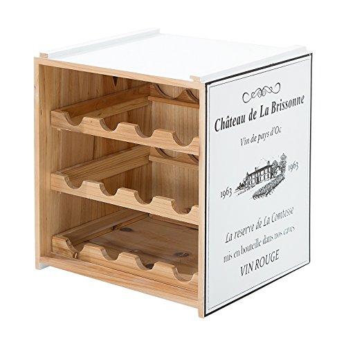 SHABBY DESIGN WEINREGAL CABERNET | 40x40x30cm, weiß, Holz, 12 Flaschen | Weinständer