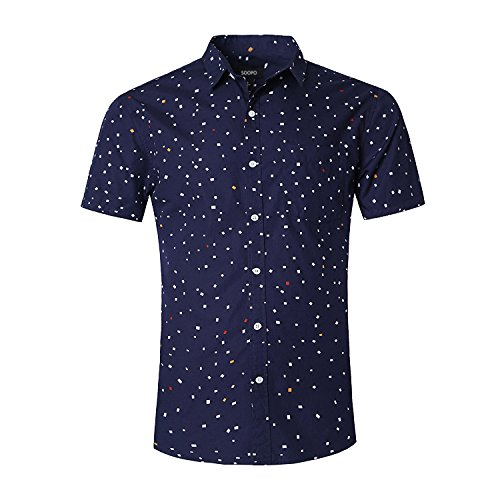 Herren Kurzarm Slim Fit Freizeithemd Fashion Retro Short Sleeve T-Shirts Bügelfrei (3XL, Blau3)