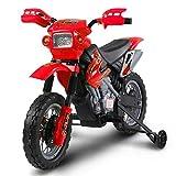 BAKAJI Moto Elettrica per Bambini Cross 6V Minimoto elettrica colore Rosso con Rotelle e Caricabatterie