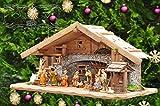 Weihnachtskrippe + Zubehör, 70 cm Design & Ausführung: massiv Vollholz Massivholz + 12 Premium - Krippenfiguren Figuren + mit Licht Laterne Beleuchtung Krippenbeleuchtung Krippen Holz K60MFTL