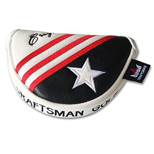 Craftsman Golf schwarz weiß rot Streifen USA STAR klein Half Mid Mallet Putter Schlägerhaube für Odyssey Taylormade (Putter Odyssey Cover)