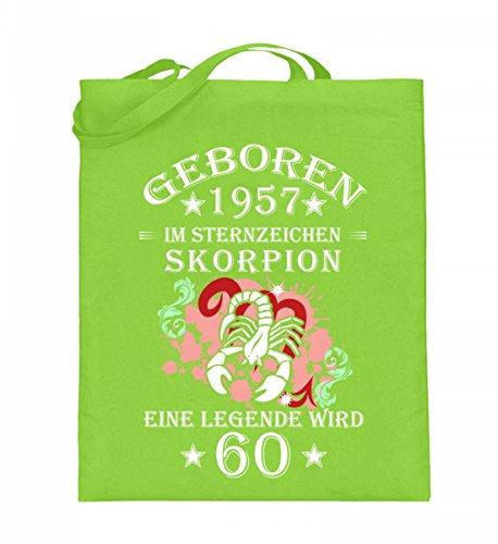 Hochwertiger Jutebeutel (mit langen Henkeln) - Sternzeichen Skorpion wird 60 Lime Green