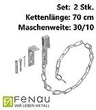 FeNau | Set: 2 Stk. | Gitterrostsicherung mit Sicherheitsketten Länge: 70cm / 700mm und MW: (30/10 mm) - S235JR - feuerverzinkt - Fluchtweg-Sicherung/Einbruch-Sicherung/Gitterrost-Befestigung