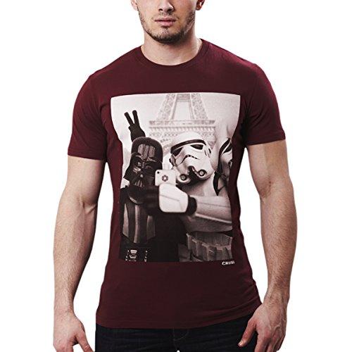 Star Wars Empire Selfie T-Shirt mit Darth Vader und Stormtrooper chunk Markenware weinrot Weinrot