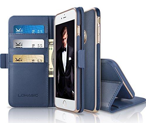 "Custodia iPhone 6s,LOHASIC 2 in 1 Pelle PU Staccabile Magnetico Flip Folio con Slot Schede,Stand,Sottile Cover Posteriore,Cassa Raccoglitore Shock-Absorbing per iPhone 6s/iPhone 6(4.7 "" Blu Navy)"