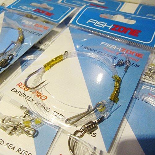 Fishzone Rig Pro Serie-10von Single Typ NFZ Qualität Flapper fertig gebundene Rigs-Ideal für Meer und Shore Angeln (1, 2und 3Haken erhältlich) -