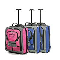 Sets of MiniMAX Childrens/Kids Luggage Carry On Trolley Suitcase with Backpack and Pouch for your Favourite Doll/Action Figure/Bear (Blue x2 + Pink)