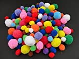 50 Craft Poms Multi Coloured Fluffy Balls Various Sizes Children Arts & Crafts - Colour: Assorted