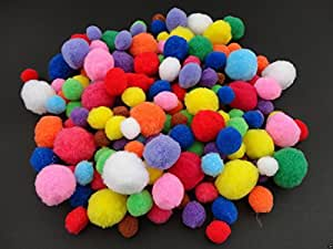 a2bsales 50 Craft Poms Multi Coloured Fluffy Balls Various Sizes Children Arts & Crafts - Colour: Assorted