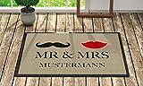 Loose Werbetechnik Fußmatte 'Mr. & Mrs. ' Inkl. Ihrem Nachnamen - Personalisierte Schmutzfangmatte, Fußmatte:60 x 40 cm