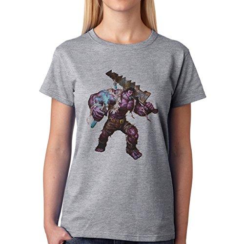 League Of Legends Angry Mundo Damen T-Shirt Grau