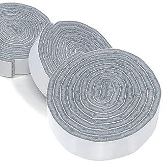 Adsamm® | 3 x selbstklebende Filzbänder zum Zuschneiden | 19x1000 mm | Grau | Rolle | 3.5 mm starker selbstklebender Filzzuschnitt in Top-Qualität