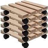 Unbekannt Fünf Pflanzenroller Holz MASSIV aus stabilem Buchenholz eckig 30 cm x 30 cm bis 120 KG