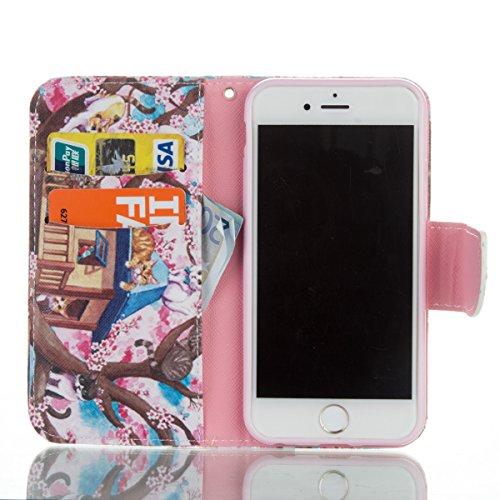 Handyhülle für Apple iPhone 6/6s 4.7 Zoll, Ekakashop Ledertasche Schutzhülle im Bookstyle für iPhone 6s, Rote Feder Muster Leder Tasche Handytasche Zubehör Portemonnaie mit Kartensteckplätze für iPhon Katze im Baum