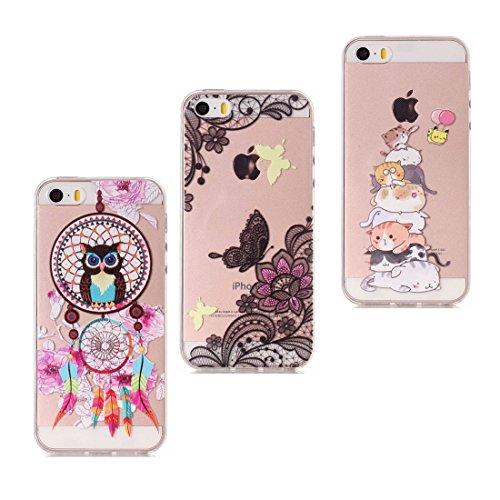 Panda & unicorno & Cacciatore di sogni - Color trasparente Ultra Slim Fit morbida TPU Case Cover in pelle di gomma del silicone Custodia Copertiura per iPhone 5 5S SE 5G 1