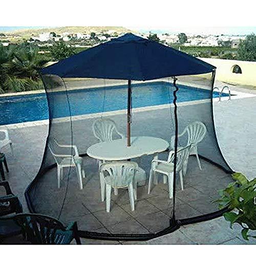 Hspoup 9ft Patio Umbrella Bug Screen mit Reißverschlusstür, Polyester Netting - Schwarz - Schwarz Netting-bett