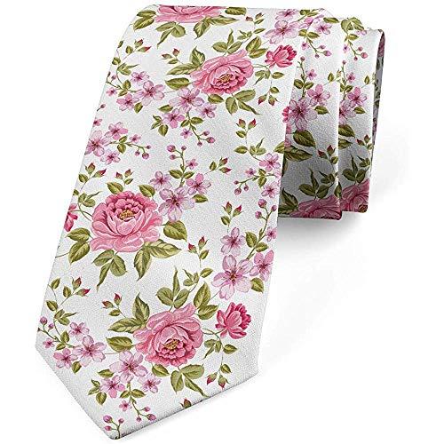 Krawatte, Vintager Frühlings-Flourish, rosa olivgrünes Weiß