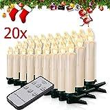 Miafamily 20-60er Weinachten LED Kerzen Weihnachtsbeleuchtung Lichterkette Kerzen kabellos Weihnachtskerzen Weihnachtsbaum Kerzen mit Fernbedienung kabellos Baumkerzen(milchweisse Hülle, 20er)