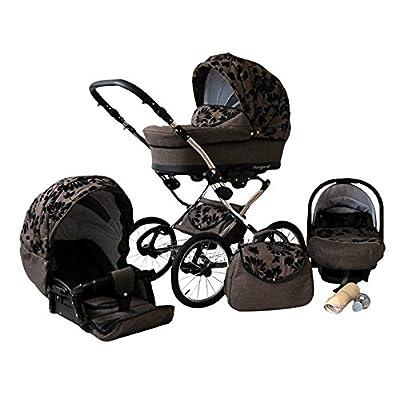 Lux4Kids Margaret nostalgia Pram & Pushchair (raincover, mosquito net, car seat adapter) 04 Brown poppies