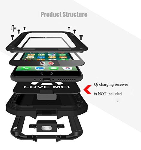 iPhone 7 Hülle : Fonrest Love mei Leistungsstarke Aluminium Metal Armor Gorilla-Glas Stoß- schnee- schmutzfester Abdeckung für iPhone 7 (iPhone 7, Silber) Gelb