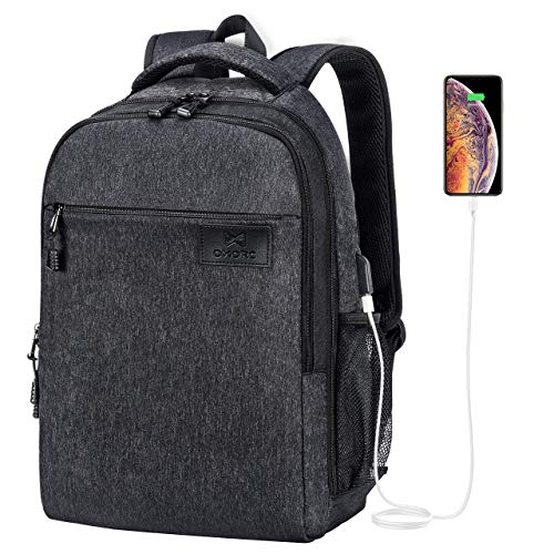 OMORC Laptop-Rucksack mit externem USB-Anschluss, 30L Business-Reisetasche mit Laptop-Fach, TSA Freundliches 180 ° Lay-Flat Design, Geeignet für bis zu 17-Zoll-Laptops - Schwarz (Lay Flat Notebook)