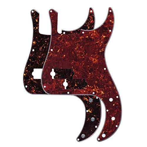 FLEOR P Bass Pickguard PB Scratch Platte für präzise Bass Gitarre, 2 Stück Red & Brown Schildkröte Shell