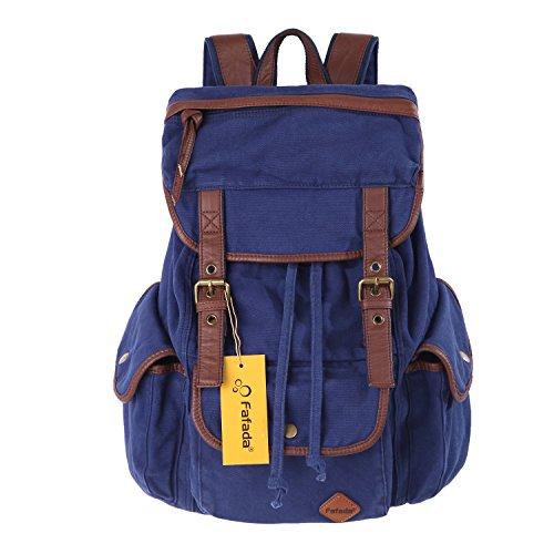 Imagen de fafada  de lona canvas cuero unisex vintage  bolsas de la escuela de colegio casual  caminando bolso de viaje para excursi¨®n camping b azul