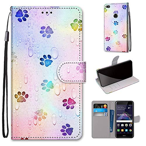 Miagon Flip PU Leder Schutzhülle für Huawei P8 Lite 2017,Bunt Muster Hülle Brieftasche Case Cover Ständer mit Kartenfächer Trageschlaufe,Fußabdruck