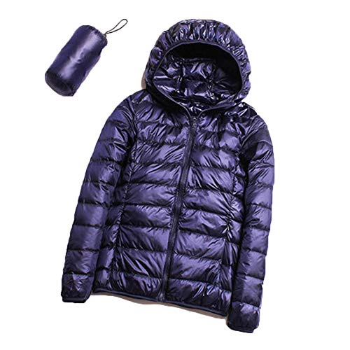 S.CHARMA Women's Packable Ultra Light Weight Short Down Jacket Hooded - Travel Bag Navy