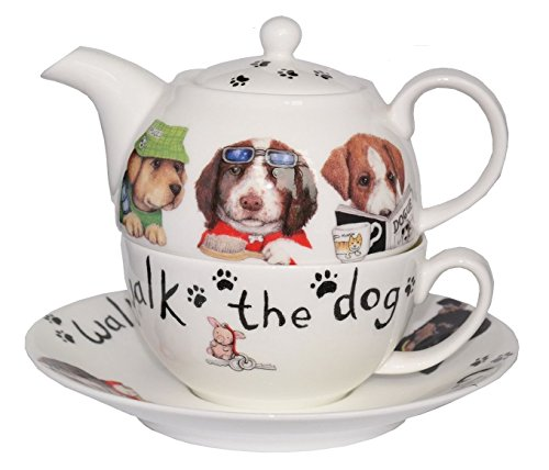 Roy Kirkham Animal Fashion Dog Tea for One Teapot, Cup & Saucer in Fine Bone China by Roy Kirkham Roy Kirkham Bone China