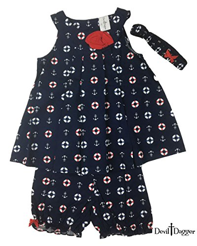 Devil Dagger Baby Kid Set, 3 Pieces, Top/Shorts/Headband, Cute Baby Anchor & Lifebuoy Blue Dress (12M, Marine Navy ()