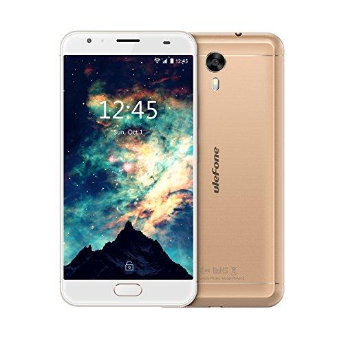 Ulefone Power 2 - Smartphone Libre 4G, 5.5'FHD 1920*1080, Cuerpo Metálico, Android 7.0, 64GB ROM+4GB RAM, MT6750T Octa-Core, Cámara de 13MP/8MP, Batería 6050mAh,9V/2A Carga Rápido, Dual SIM (Dorado)
