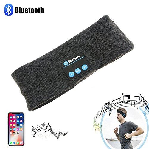 Jolliwin 2 en 1, El sudor absorbido diadema y Hi-Fi Stereo Auricular inalámbrico Bluetooth 3.0 auriculares,para deportesal aire libre Ejercicio, Running, Walking, Pesca , Equitación, Ciclismo, Esquí (Gris)