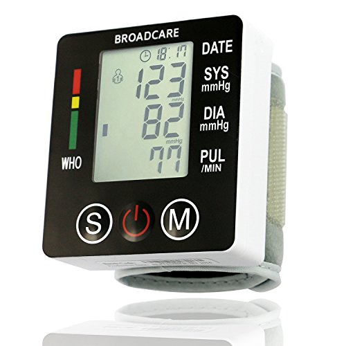 BROADCARE Tensiómetro de Muñeca Monitor de Presión Arterial Digital con Medición de Ritmo Cardíaco Pantalla LCD Función de Memoria de luz Uso Doméstico y de Viaje, Color Blanco y Negro