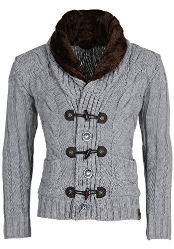 TAZZIO Herren Strickpullover Norweger Pullover Strickjacke Winter Grobstrick Jacke Winterpullover Größe S - XXL Grau Carlet