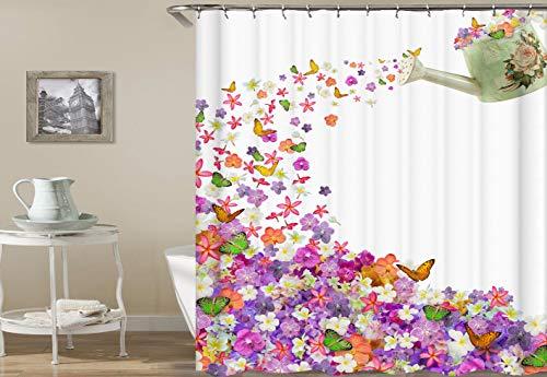 ila schöne Blume grün gelb Schmetterling grün Wasser sprühflasche duschvorhang Bad Vorhang Dekoration wasserdichtes gewebe ()