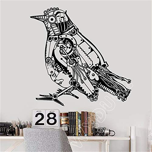 haotong11 Wxduuz Steampunk Bird Mechanical Art Decor Sticker Vinilo Pegatinas de Pared Extraíble Sala de Estar Poster58 * 60 cm