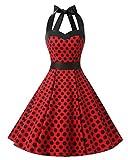 Dresstells Neckholder Rockabilly 50er Polka Dots Punkte 1950er Kleid Petticoat Faltenrock Red Black Dot S