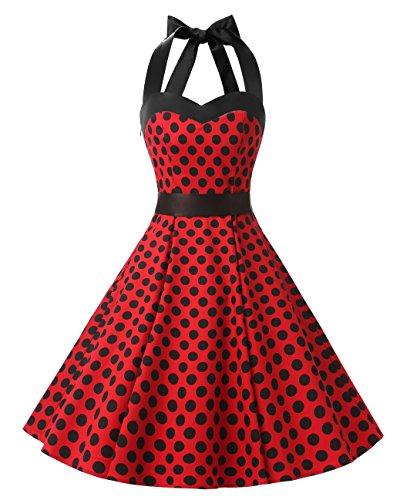 Dresstells Neckholder Rockabilly 50er Polka Dots Punkte 1950er Kleid Petticoat Faltenrock Red Black Dot L (1950 Kostüme)