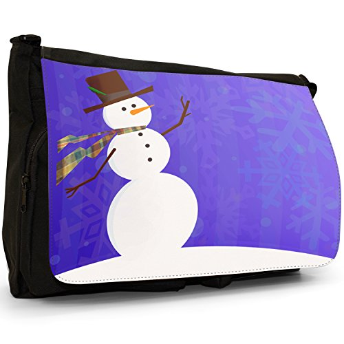 Fancy A Bag Borsa Messenger nero Snowman Wearing Scarf With Snowflake Background Snowman Wearing Scarf With Snowflake Background