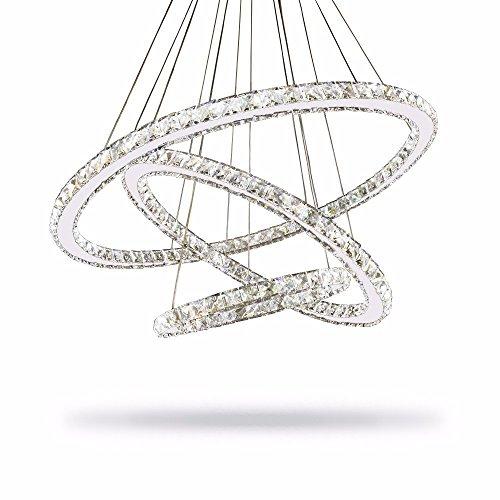Licht-kristall-suspension (Joeyhome Moderne Lüster Kronleuchter aus Kristall Kronleuchter Beleuchtung Decke Licht Lamparas De Techo Hanglamp Suspension Leuchte Lampen-LED, 1 Ring D 20 cm, Weiß)