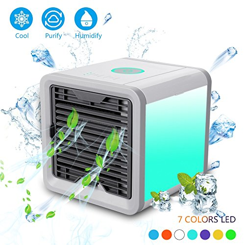 CBEX Mini Air Cooler Portable Air Conditioner Air Cooler with Water Cooling Room Dehumidifier, USB Air Conditioner Triple in Room Air Cooler, 7 Color LED Night Lights (17x17x17, Blue)