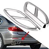 Pipe Throat Exhaust Outputs Tail Frame - Exhaust Tail Pipe Cover Trims, for Mercedes Benz GLC C E-Class C207 Coupe 14-17, 1 pair (Color : Silver)