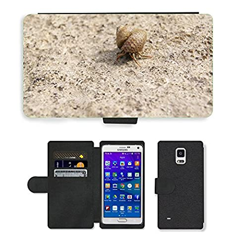 hello-mobile PU LEDER LEATHER FLIP CASE COVER HÜLLE ETUI TASCHE SCHALE // M00136633 Einsiedlerkrebs Shell Snail Meer Natur // Samsung Galaxy Note 4 IV