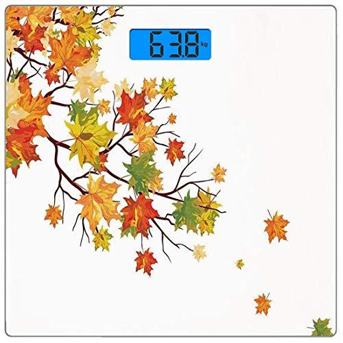 Precision Digital Body Weight Scale Herbstdekorationen Ultradünne Personenwaage aus gehärtetem Glas Genaue Gewichtsmessungen, Herbstbild mit kanadischen Ahornblättern Botanical Warm to Cold Effects, Y (Kanadische Platte)